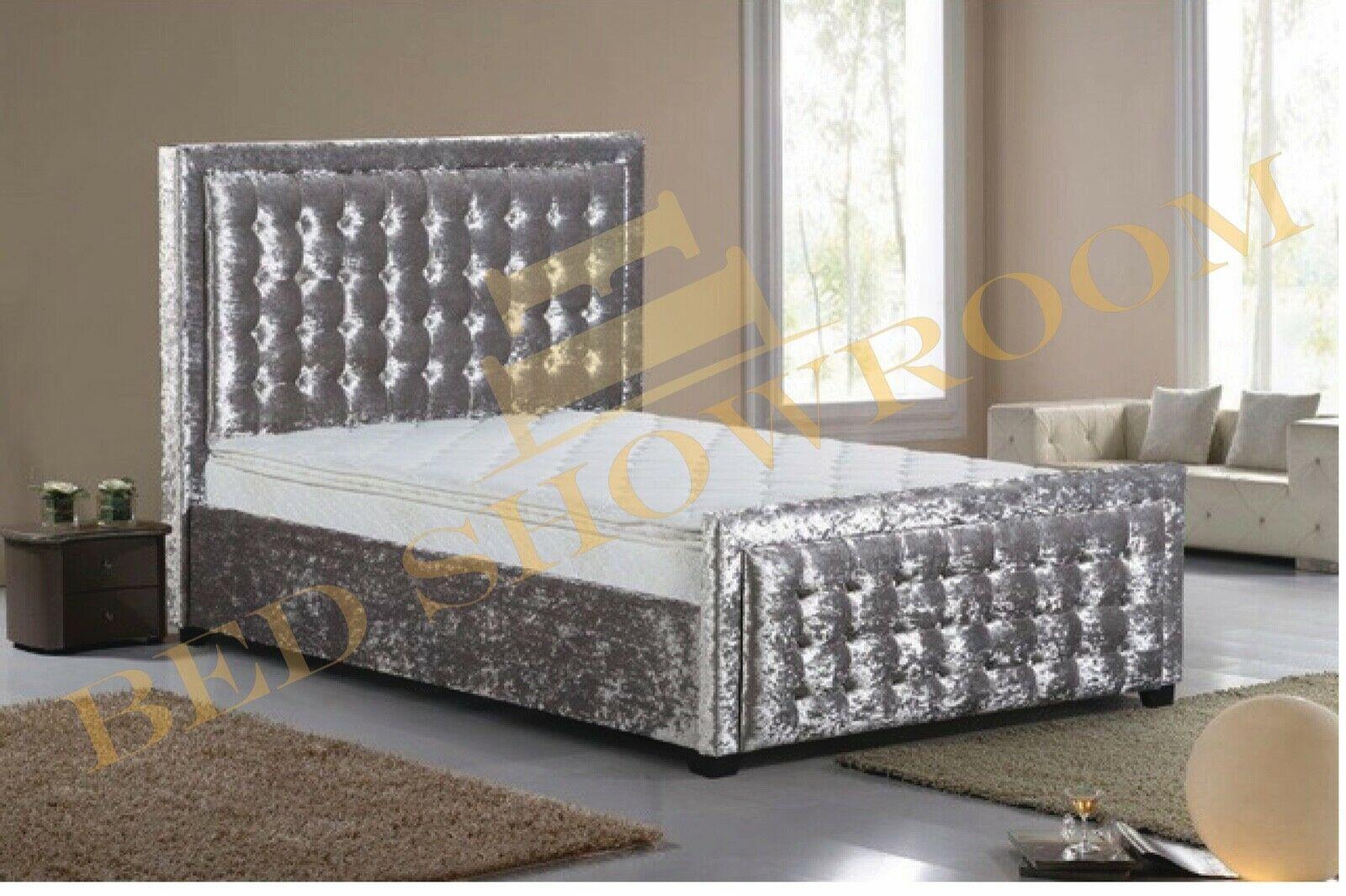 Home Furniture Diy All Sizes Sale Crushed Velvet Purple Upholstered Diamond Bed Frame 3ft 4ft6 5ft Kisetsu System Co Jp